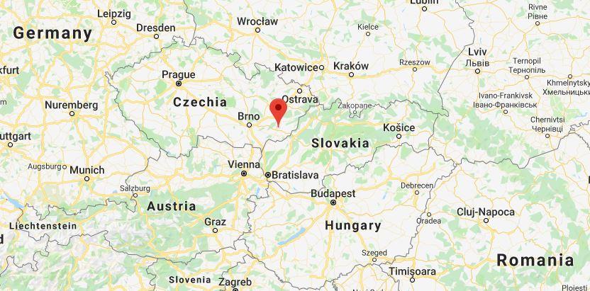 map Uherske Hradiste, Moravia, Czechoslovakia